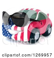 Clipart Of A 3d Happy American Flag Porsche Car Character Facing Left And Wearing Sunglasses Royalty Free Illustration