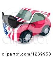 Clipart Of A 3d Happy American Flag Porsche Car Character Facing Left And Wearing Shades Royalty Free Illustration