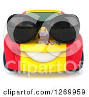 Clipart Of A 3d Happy Spanish Flag Porsche Car Character Wearing Sunglasses Royalty Free Illustration by Julos