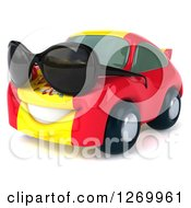 Clipart Of A 3d Spanish Flag Porsche Car Character Wearing Sunglasses And Facing Left Royalty Free Illustration