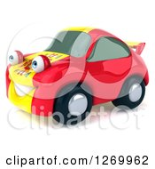 Clipart Of A 3d Spanish Flag Porsche Car Character Facing Left Royalty Free Illustration