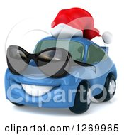 Clipart Of A 3d Blue Christmas Porsche Car Wearing Sunglasses And A Santa Hat Royalty Free Illustration by Julos