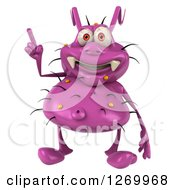 Clipart Of A 3d Purple Germ Holding Up A Finger Royalty Free Illustration
