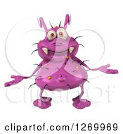 Clipart Of A 3d Purple Germ Shrugging Royalty Free Illustration