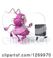 Clipart Of A 3d Purple Virus Monster Chasing After A Computer Tower Royalty Free Illustration by Julos