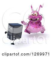 Clipart Of A 3d Purple Virus Monster Chasing After A Computer Tower 2 Royalty Free Illustration by Julos