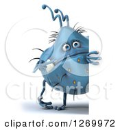 Clipart Of A 3d Blue Germ Monster Pointing Around A Sign Royalty Free Illustration