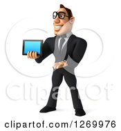 Clipart Of A 3d Bespectacled White Businessman Presenting A Tablet Or Smart Phone Royalty Free Illustration