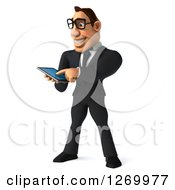Clipart Of A 3d Bespectacled White Businessman Using A Tablet Or Smart Phone Royalty Free Illustration