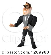 Clipart Of A 3d Bespectacled White Businessman Presenting With Both Hands Royalty Free Illustration