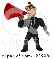 Clipart Of A 3d Bespectacled White Businessman Announcing With A Megaphone Royalty Free Illustration