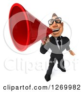 Clipart Of A 3d Bespectacled White Businessman Announcing Upwards With A Megaphone Royalty Free Illustration
