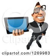 Clipart Of A 3d Bespectacled White Businessman Holding Up A Tablet Or Smart Phone Royalty Free Illustration