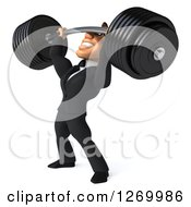 Clipart Of A 3d Bespectacled Macho White Businessman Facing Left And Lifting A Heavy Barbell Royalty Free Illustration