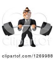 Clipart Of A 3d Bespectacled Macho White Businessman Lifting A Heavy Barbell Royalty Free Illustration
