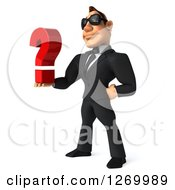 Clipart Of A 3d White Businessman Wearing Sunglasses Facing Left And Holding Out A Question Mark Royalty Free Illustration