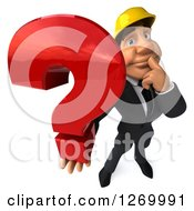 Clipart Of A 3d White Contractor Businessman Thinking And Holding Up A Question Mark Royalty Free Illustration