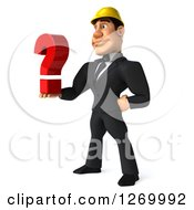 Clipart Of A 3d White Contractor Businessman Facing Left And Holding Out A Question Mark Royalty Free Illustration