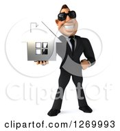 Clipart Of A 3d White Businessman Wearing Sunglasses And Holding A Silver House Royalty Free Illustration
