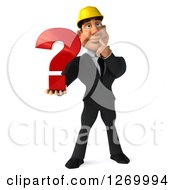 Clipart Of A 3d White Contractor Businessman Thinking And Holding A Question Mark Royalty Free Illustration