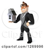Clipart Of A 3d Bespectacled White Businessman Facing Left And Holding A Silver House Royalty Free Illustration