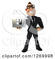 Clipart Of A 3d Bespectacled White Businessman Holding A Silver House Royalty Free Illustration