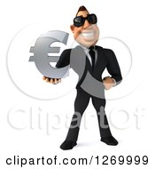 Clipart Of A 3d White Businessman Wearing Sunglasses And Standing With A Euro Symbol Royalty Free Illustration