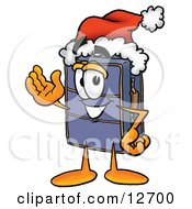 Suitcase Cartoon Character Wearing A Santa Hat And Waving