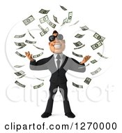 Clipart Of A 3d White Businessman Wearing Sunglasses And Making It Rain Cash Money Royalty Free Illustration