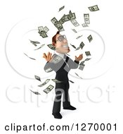 Clipart Of A 3d Bespectacled White Businessman Facing Right And Making It Rain Cash Money Royalty Free Illustration