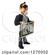 Clipart Of A 3d White Businessman Wearing Sunglasses Facing Right And Holding Out A Giant Dollar Bill Royalty Free Illustration