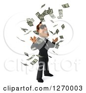 Clipart Of A 3d White Businessman Wearing Sunglasses Facing Right And Making It Rain Cash Money Royalty Free Illustration