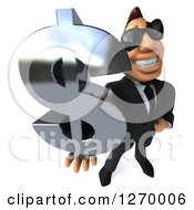 Clipart Of A 3d Macho White Businessman Wearing Sunglasses And Holding Up A Dollar Symbol Royalty Free Illustration