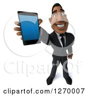 Clipart Of A 3d Handsome Black Businessman Holding Up A Smart Phone Royalty Free Illustration