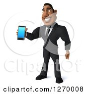 Clipart Of A 3d Handsome Black Businessman Holding Out A Smart Phone Royalty Free Illustration