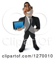 Clipart Of A 3d Handsome Black Businessman Holding Out A Smart Phone Or Tablet Royalty Free Illustration