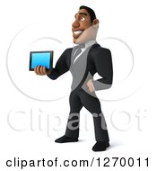 Clipart Of A 3d Handsome Black Businessman Facing Left And Holding Out A Smart Phone Or Tablet Royalty Free Illustration