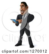 Clipart Of A 3d Handsome Black Businessman Using A Smart Phone Or Tablet Royalty Free Illustration