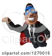 3d Handsome Black Businessman Super Hero Flying