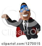 Clipart Of A 3d Handsome Black Businessman Super Hero Flying Royalty Free Illustration by Julos