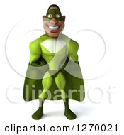 Clipart Of A 3d Male Black Super Hero In Green Smiling Royalty Free Illustration