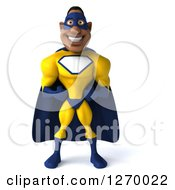Clipart Of A 3d Black Super Hero Man In A Blue And Yellow Costume Royalty Free Illustration
