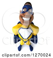 3d Black Super Hero Man In A Blue And Yellow Costume Looking Up And Smiling