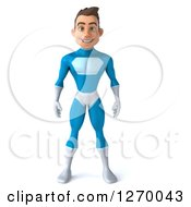 Clipart Of A 3d Young Brunette White Male Super Hero Standing In A Blue Suit Royalty Free Illustration