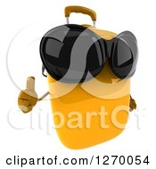 Clipart Of A 3d Yellow Suitcase Character Wearing Sunglasses And Giving A Thumb Up Royalty Free Illustration