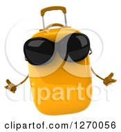 Clipart Of A 3d Yellow Suitcase Character Wearing Sunglasses And Shrugging Royalty Free Illustration