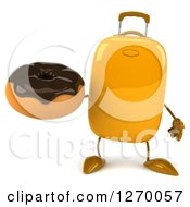 Clipart Of A 3d Yellow Suitcase Character Holding A Chocolate Frosted Donut Royalty Free Illustration