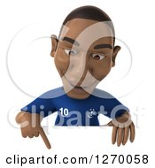 Clipart Of A 3d Black French Soccer Player Pointing Down Over A Sign Royalty Free Illustration
