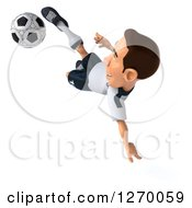 Clipart Of A 3d White German Soccer Player Catching Air And Kicking A Soccer Ball Royalty Free Illustration
