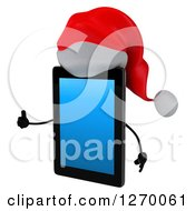 3d Christmas Tablet Computer Character Facing Left And Giving A Thumb Up